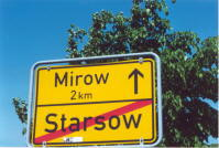 road sign leaving Starsow driving toward Mirow